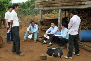 Project Sekong 2012:  To make certain proper procedures are followed, government staff inspects our project.