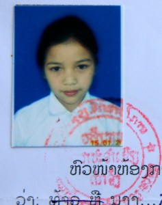 Sunsamay's family had no photographs of her while living.  This photo was copied from her school records